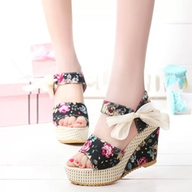 Floral Lace-Up Floral Women's Wedge Sandals
