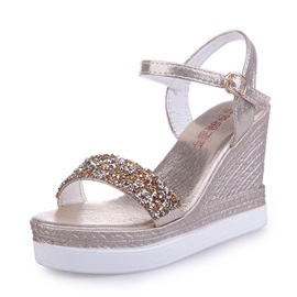 PU Rhinestone Rivet Women's Wedge Sandals