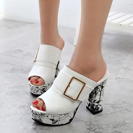 Peep Toe Buckle Platform High Heel Sandal
