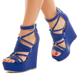 PU Heel Covering Open Toe Blue Wedge Sandals
