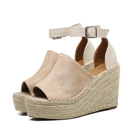 Suede Peep Toe Sewing Wedge Women's Sandals