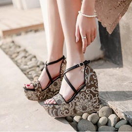 PU Heel Covering Buckle Sequin Wedge Sandals