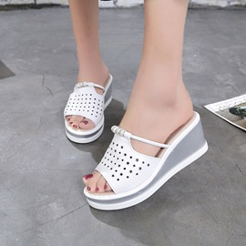 PU Hollow Rhinestone Wedge Sandals for Women