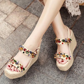 Rhinestone Ankle Strap Wedge Heel Women's Espadrille Sandals