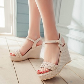 PU Woven Ankle Strap Platform Wedge Heel Sandals