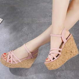 PU Peep Toe Ankle Strap Platform Wedge Heel Women's Sandals