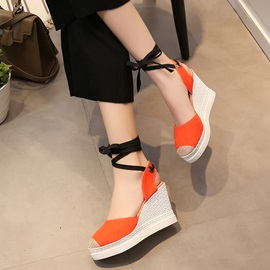 Canvas Lace-Up Strappy Wedge Heel Women's Sandals