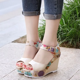 PU Floral Peep Toe Strappy Wedge Heel Women's Sandals