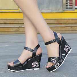 PU Embroidery Floral Strappy Wedge Heel Women's Sandals