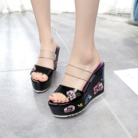 PVC Floral Wedge Heel Women's Slide Sandals