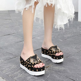 Rivet Animal Wedge Heel Women's Sandals