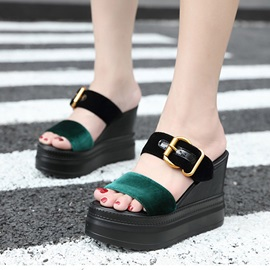 Color Block Wedge Heel Women's Slide Sandals
