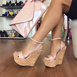 Platform Line-Style Buckle Wedge Sandals