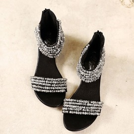 PU Rhinestone Zipper Wedge Heel Women's Sandals