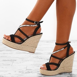 PU Buckle Rhinestone Strappy Wedge Heel Women's Sandals