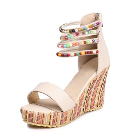 Beads Wedge Heel Heel Covering Women's Sandals