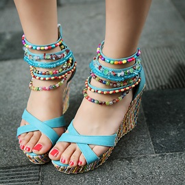 Beads Heel Covering Zipper Wedge Heel Women