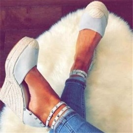 Closed Toe Buckle Mid-Cut Upper Espadrille Wedge Sandals