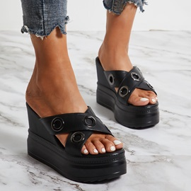 Cross Wedge Heel Slip-On Summer Slippers