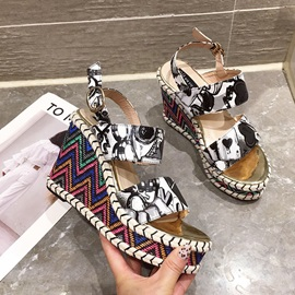 Ankle Strap Open Toe Buckle Print Wedge Sandals