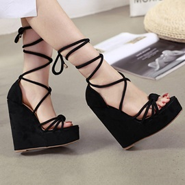 Open Toe Lace-Up Heel Covering Wedge Sandals