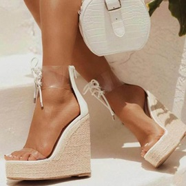 Heel Covering Round Toe Wedge Heel Vintage Sandals