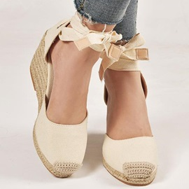 Wedge Heel Lace-Up Heel Covering Casual Sandals