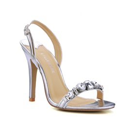Noble Silver Pu Upper Stiletto Heels Open-toes Prom Shoes
