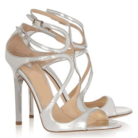 Strappy Metallic Stiletto Heel Sandals