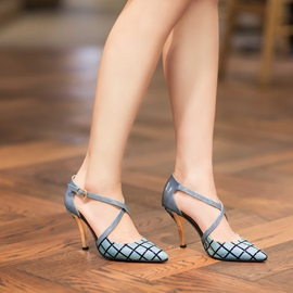 New Plaid Cross Strap Pointed Toe Sandals
