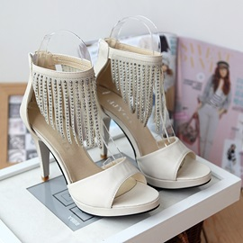 Tassels Decorated Cover Heel High Heel Sandals