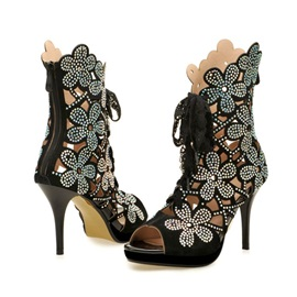 Rhinestone Flowers Hollow-out Peep Toe Lace Up Sandals