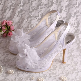 Floral Peep Toe Slingback White Lace Wedding Shoes