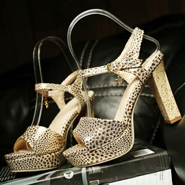 Snake Printing Two-piece Heel Sandals