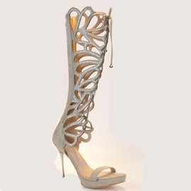 Rhinestone Back-Zip Cut-Out Roman Sandals