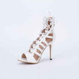 Open-Toe Strappy Lace-Up Heel Sandals