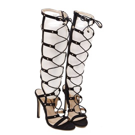 Lace-Up Cut Out Studded Roman Sandals
