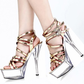 Color Block Strappy Awl-Heel Sandals