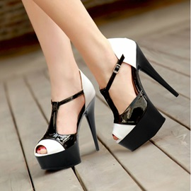Color Block T-Strap Awl Heel Sandals