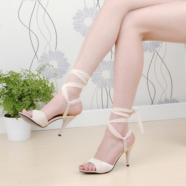 Solid Color Open-Toe Lace-Up Sandals