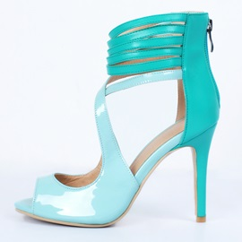 Peep-Toe Strappy Back-Zip Sandals