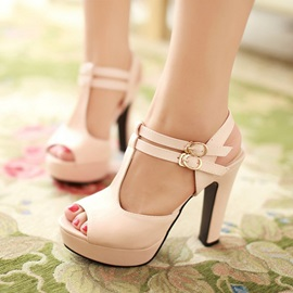 PU Buckle Chunky Heel Peep-Toe Stiletto Sandals