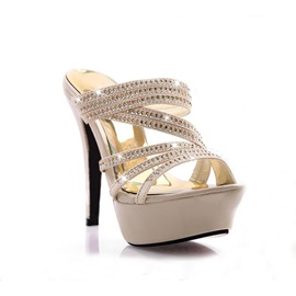 Rhinestone Strappy Slip-On Sandals