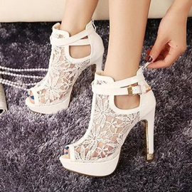 Peep-Toe Lace Hollow Prom Shoes
