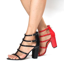 Rivets Strappy Chunky Heel Sandals