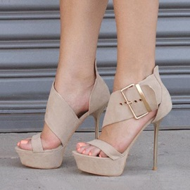 Buckles Open-Toe Stiletto Heel Sandals