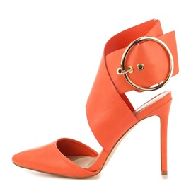 Orange PU Simple Pointed Toe Stiletto Heel Sandals