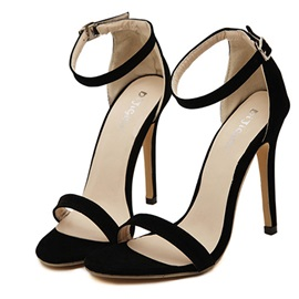Solid Color Covering Heel Stiletto Heel Sandals