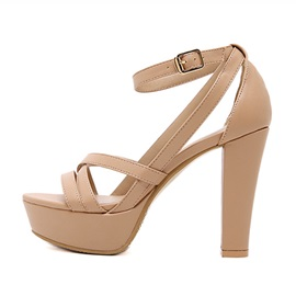 Solid Color PU Platform Chunky Heel Sandals