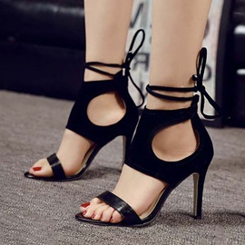 Black Cut-Out Stiletto Heel Lace-Up Heel Sandals